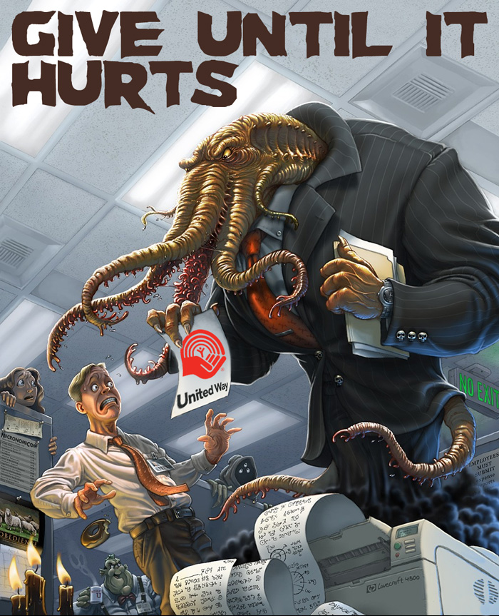 Give to united way, cthulhu in a tie threatening an office worker