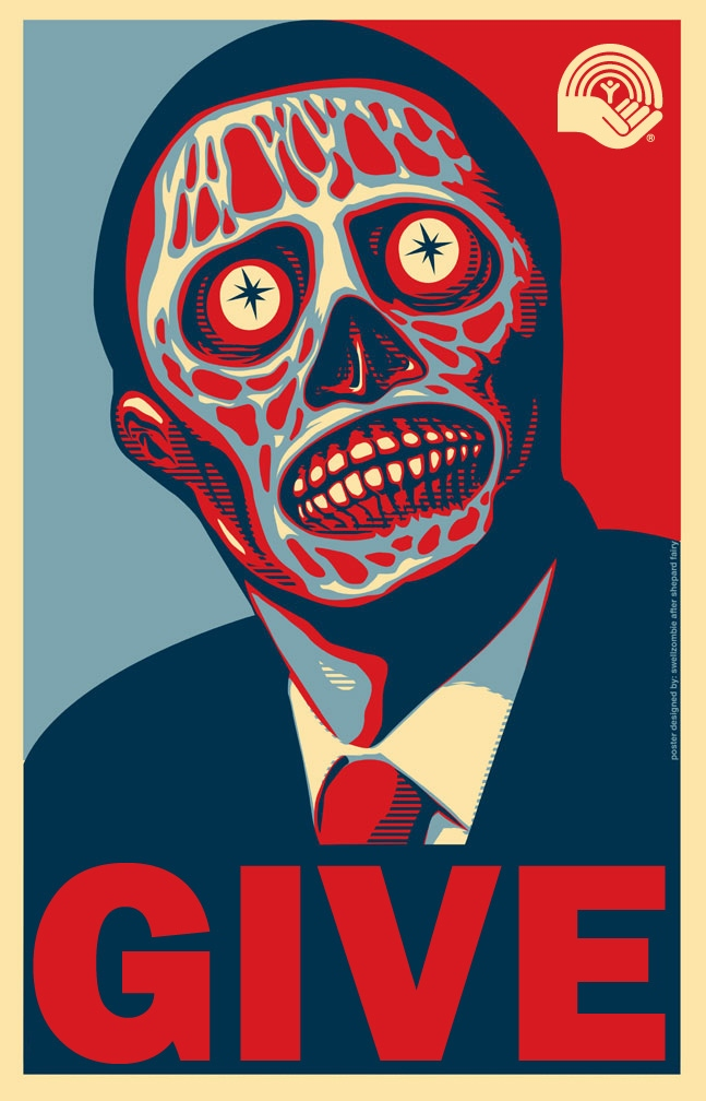 Give to united way, zombie Obama