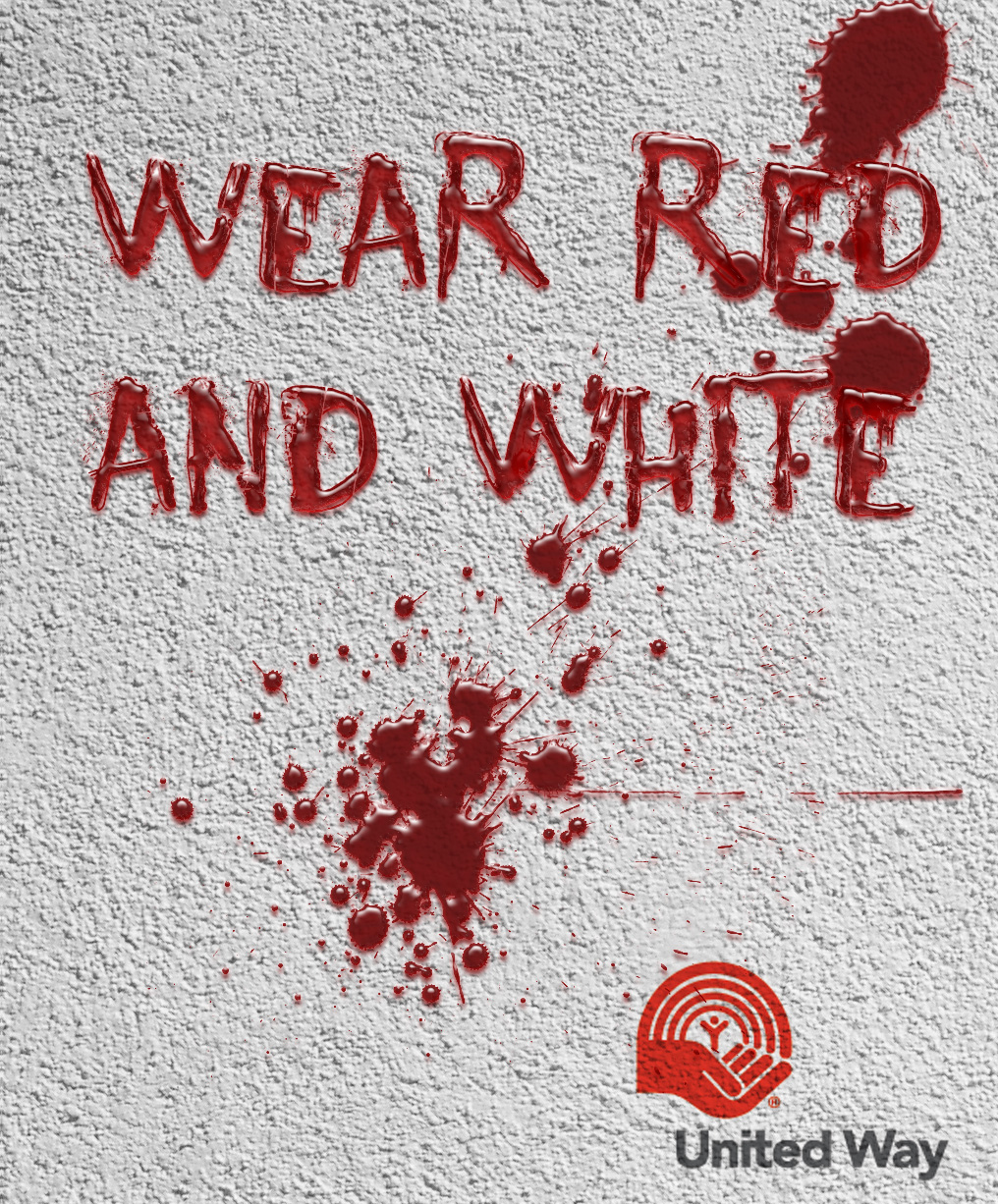 united way, wear red and white campaign drawn on a white wall in blood